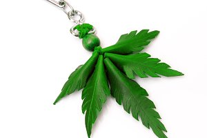 Marijuana-shaped keychain