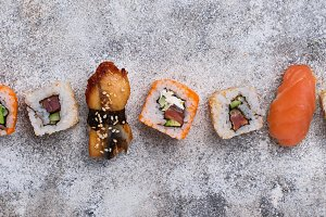 Sushi roll set on light background