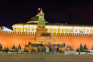 Lenin Mausoleum in Moscow at night