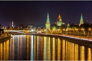 View of Moscow Kremlin by night - Russia