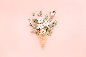 Waffle cone with cotton bouquet