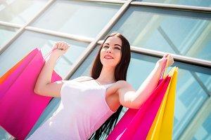 Happy girls enjoys shopping