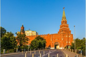 Towers and walls of Moscow Kremlin, Russia