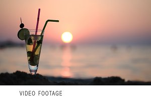 Mojito on the beach at sunset