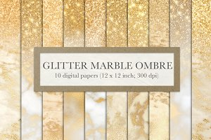 Gold glitter marble ombre