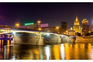 Borodinsky bridge in Moscow by night