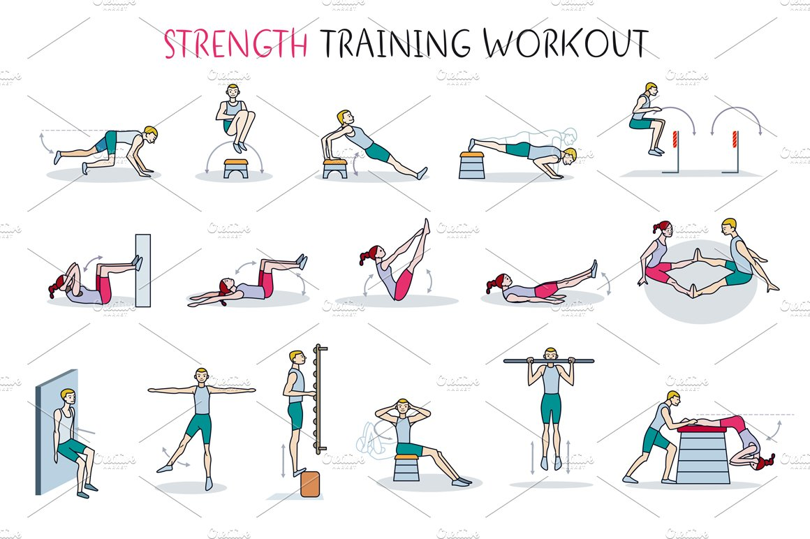 strength training workout illustrations creative market. Black Bedroom Furniture Sets. Home Design Ideas
