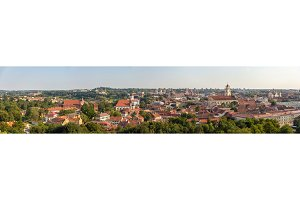 Panorama of the city center of Vilnius, Lithuania