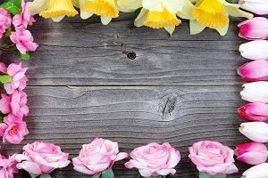 Spring flower rectangle border
