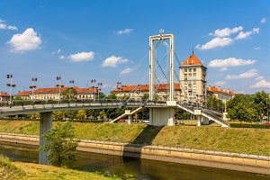 Pedestrian bridge over Nemunas river in Kaunas, Lithuania