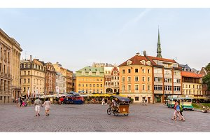 RIGA, LATVIA - JULY 28: View of Dome Square in Riga on July 28,