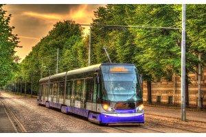 Modern tram in Riga - Latvia