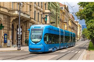 Modern tram on a street of Zagreb, Croatia
