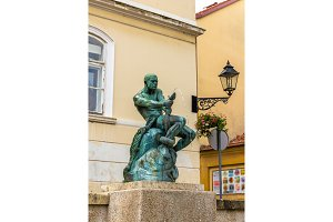 Fisherman With Snake statue and fountain in Zagreb, Croatia