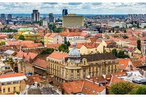 Aerial view of Zagreb city center in Croatia