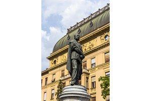 Statue of Petar Preradovic in Zagreb, Croatia