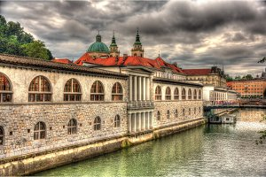 Waterfront in Ljubljana, Slovenia