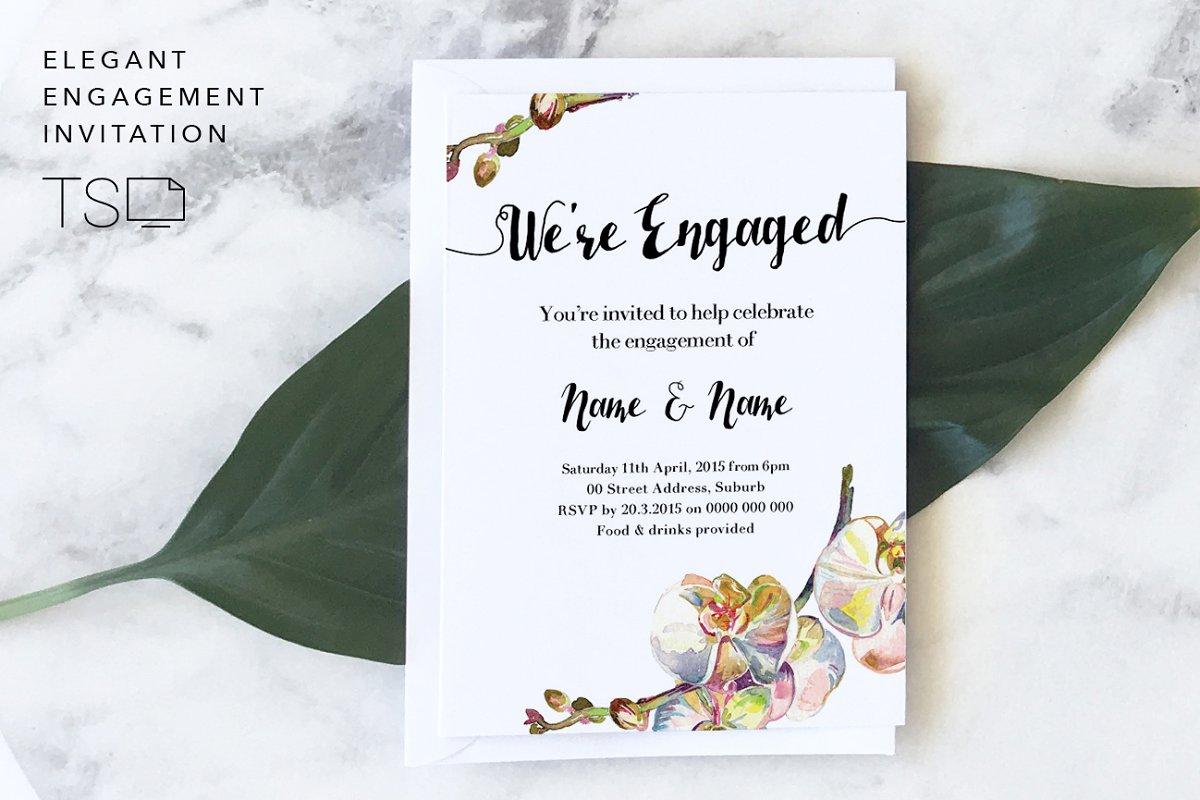 Save Elegant Engagement Invitation