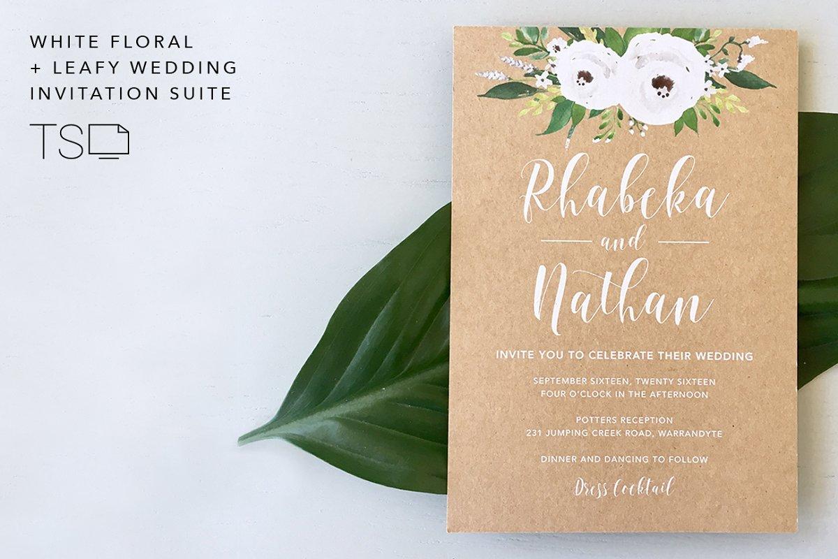 White Floral Leafy Wedding Suite
