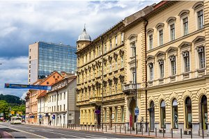 Buildings in the city centre of Ljubljana, Slovenia