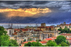 Sunset over Rijeka city - Croatia