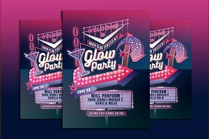 Glow Party Motel Sign Flyer Template