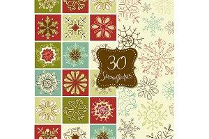 30 Snowflakes Clip Art, Christmas
