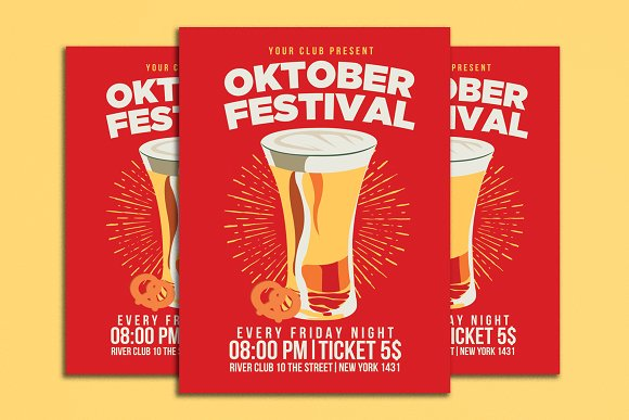 Oktober Fest Flyer Vintage Style
