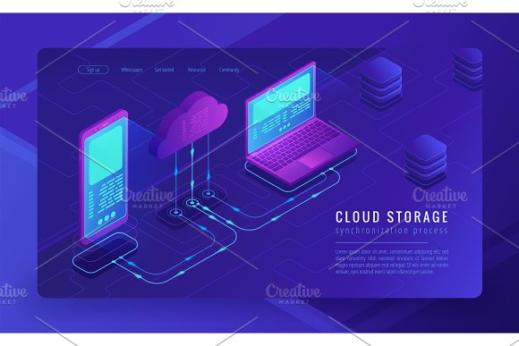 Isometric Cloud Storage Landing Page Concept