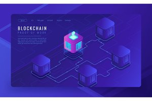 Isometric blockchain cryptocurrency and data transfer concept.