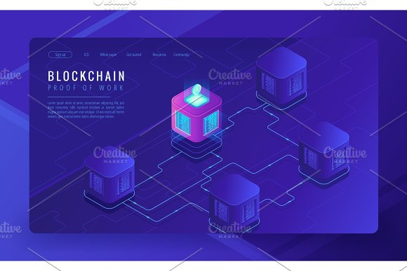 Isometric Blockchain Cryptocurrency And Data Transfer Concept