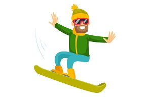Young caucasian white man riding a snowboard.