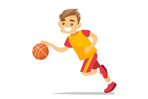 Young caucasian white playing basketball.