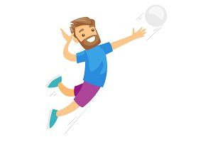 Caucasian white sportsman playing volleyball.