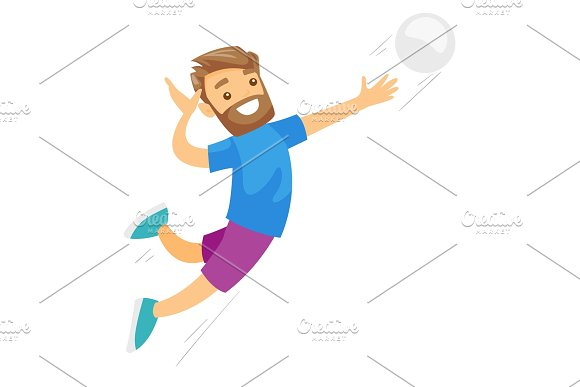 Caucasian White Sportsman Playing Volleyball