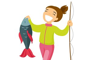Caucasian white fisherwoman holding fish.