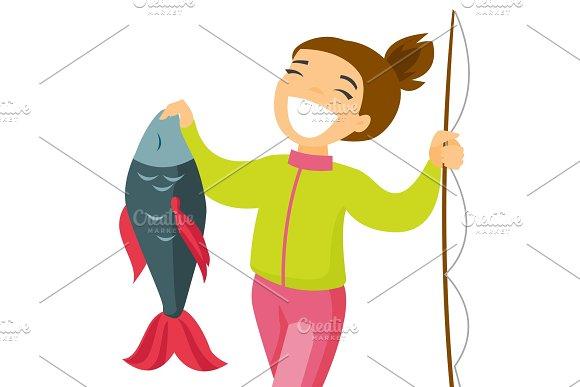 Caucasian White Fisherwoman Holding Fish
