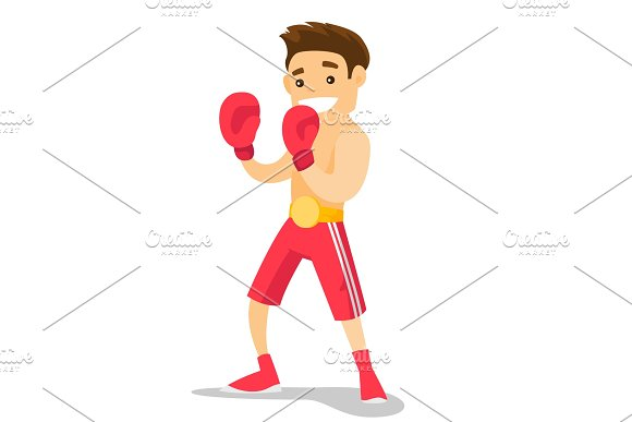 Caucasian White Boxer Training In Boxing Gloves