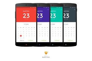 Multicolor Material Design Calendar