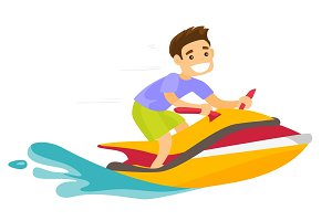 Caucasian white man riding a jet ski scooter.