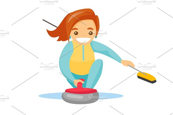 Caucasian Sportswoman Playing Curling On Ice Rink