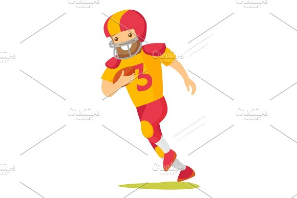 Caucasian White Rugby Player Running With Ball