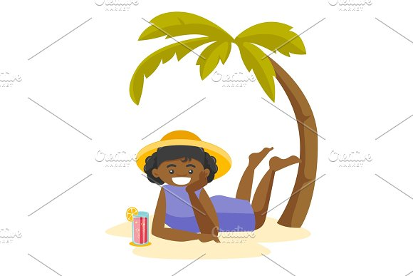 African Woman Lying On The Beach Under The Palm