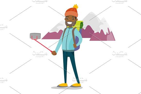 Young African-american Traveler Man Making Selfie