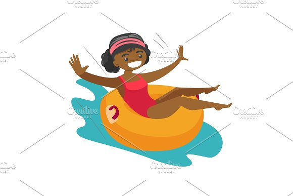 African-american Woman Having Fun In Waterpark