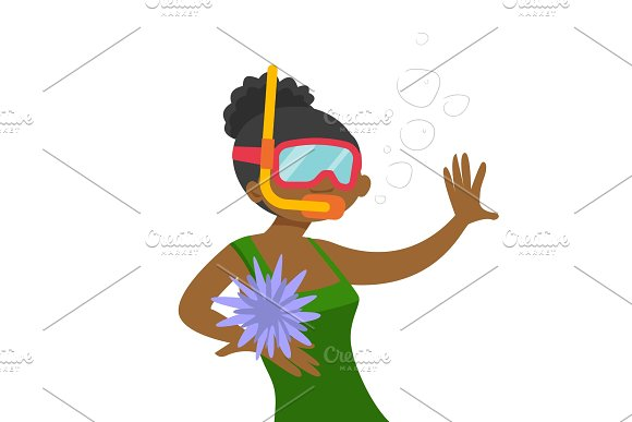 Young African-american Woman Swimming Underwater