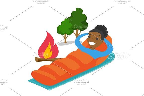 African-american Woman Sleeping In A Sleeping Bag