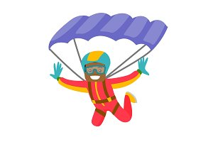 Black man flying with a parachute.