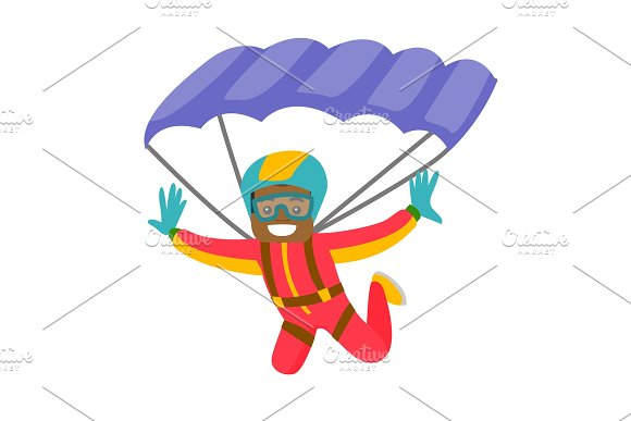 Black Man Flying With A Parachute