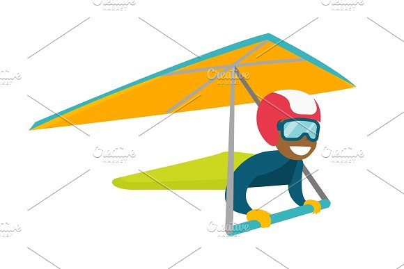 Black Woman Flying On Hang-glider